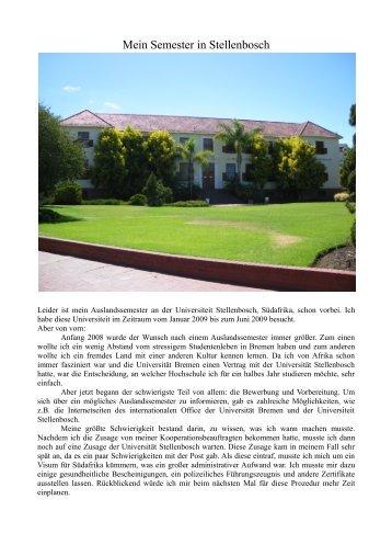 Mein Semester in Stellenbosch - International Office - Universität ...
