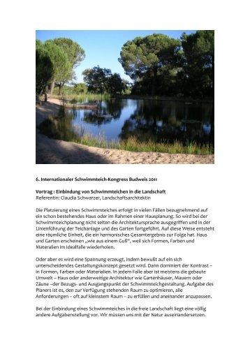 Einbindung von Schwimmteichen in die Landschaft Referentin: Clau