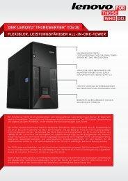 DER LENOvO® THINkSERvER® TD230 EINE IDEALE LöSUNG ...