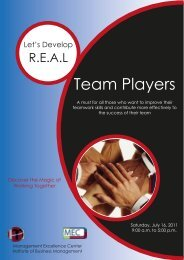 Lets Develop Real Team Players - Institute of Business Management