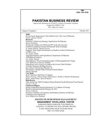 PAKISTAN BUSINESS REVIEW - Institute of Business Management