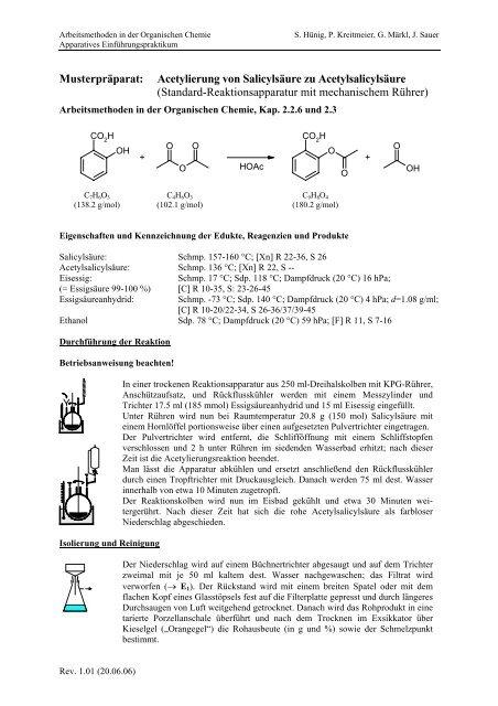 Versuch B13: Präparat: Acetylierung von Salicylsäure zu ...