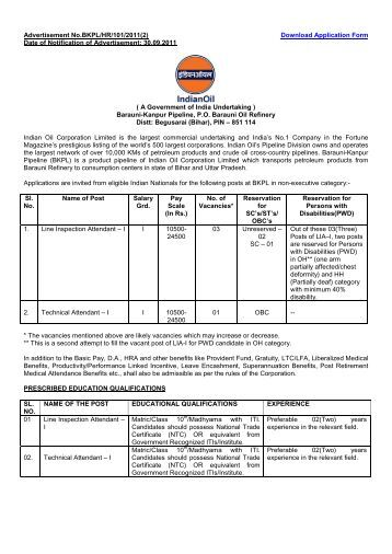 Advertisement No - Indian Oil Corporation Limited