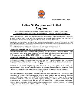 Indian Oil Corporation Limited Requires