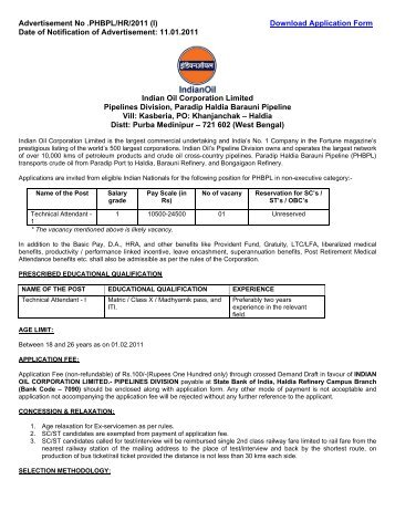 Notification - Indian Oil Corporation Limited