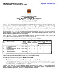 Openings in HMRBPL Pipelines - Indian Oil Corporation Limited