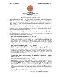 Recruitment Ad for appointment of Research Officers at R&D Centre