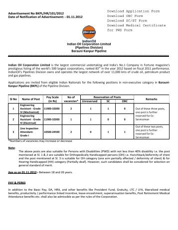 Opening for Non-Executive Positions in BKPL - Indian Oil ...