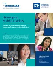 Developing Leaders flyer (pdf). - Institute of Education, University of ...