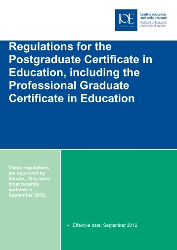 (including Professional Graduate Certificate in Education) Regulations