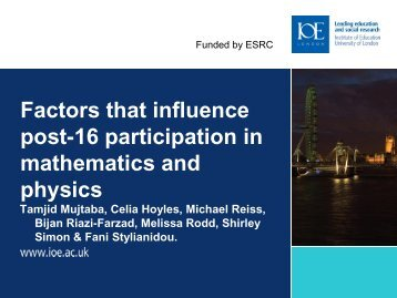 Research presentation - EARLI 2009 - Institute of Education ...