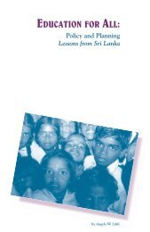 Education for all: Policy and planning, lessons from Sri Lanka