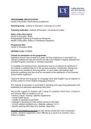 Doctor of Education (EdD) Programme Specification - Institute of ...