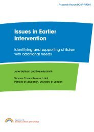 Issues in Earlier Intervention - Institute of Education, University of ...