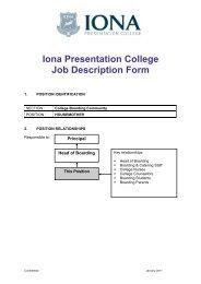 Iona Presentation College Job Description Form