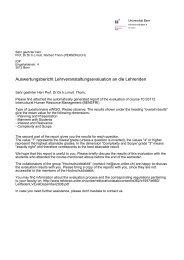 Auswertungsbericht Lehrveranstaltungsevaluation ... - Universität Bern