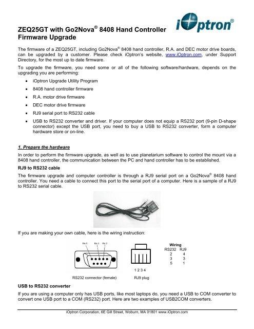 ZEQ25GT with Go2Nova 8408 Hand Controller Firmware     - iOptron