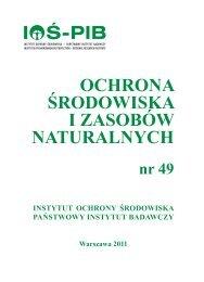 ochrona środowiska i zasobów naturalnych - Instytut Ochrony ...