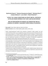 wpływ warunków bytowania na zawartość metali ciężkich w sierści i ...