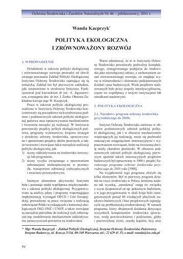 POlityka EkOlOGiczna i zrównOwaŻOny rOzwóJ - Instytut Ochrony ...