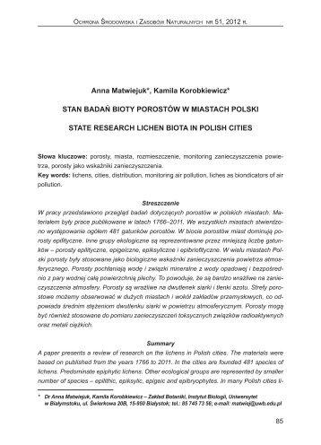 stan badań bioty porostów w miastach polski - Instytut Ochrony ...