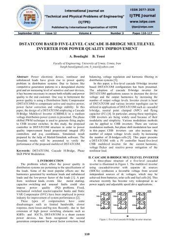 dstatcom based five-level cascade h-bridge multilevel ... - iotpe