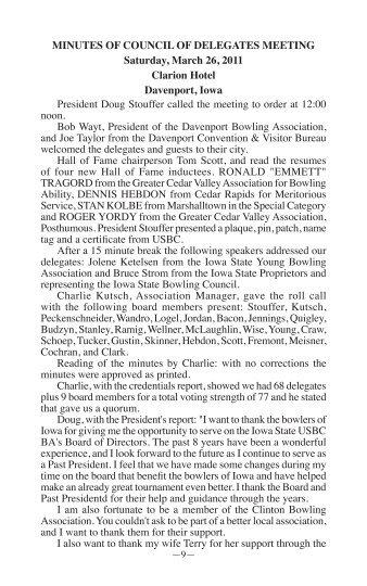 2011 Annual Meeting Minutes - Iowa State USBC BA