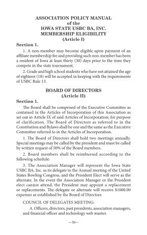 Association Policy Manual - Iowa State USBC BA