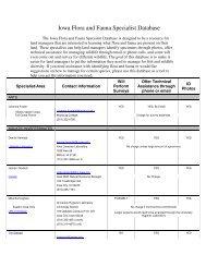 Iowa Flora and Fauna Specialist Database - Iowa Department of ...