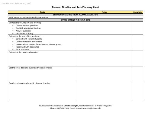 reunion timeline and task planning sheet