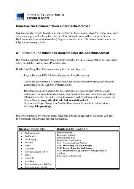 Hinweise Zur Dokumentation Einer Bachelorarbeit A Prof Kappen