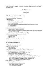 WS 2009 / 2010 Gesellschaftsrecht Gliederung I. Ein