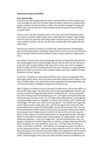 Thesenhafte Zusammenfassung Und Ausblick Gemeinde