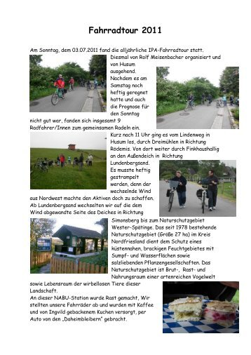 Fahrradtour 2011 - Ipa-nordfriesland.de