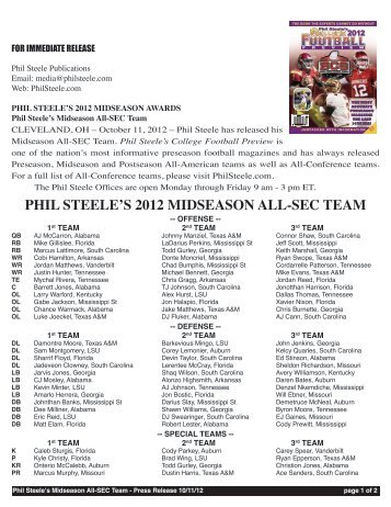 PHIL STEELE'S 2012 MIDSEASON ALL-SEC TEAM