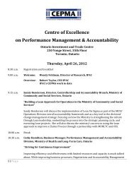 Centre for Excellence in Performance Management and Accountability