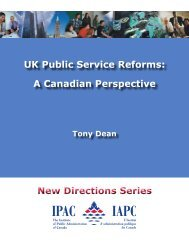 UK Public Service Reforms: A Canadian Perspective New Directions ...