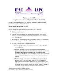 Règlements de l'IAPC - The Institute of Public Administration of ...