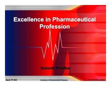Presentation of Subodh Priolkar - Indian Pharmaceutical Association