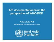 API documentation from the perspective of WHO-PQP - Indian ...