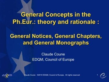 Claude Coune - General concepts in European PHARMACOPOEIA