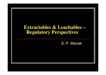 Extractables & Leachables - Indian Pharmaceutical Association