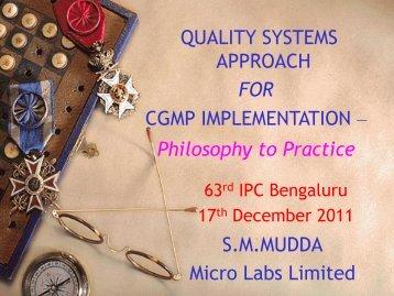 Presentation of S.M.MUDDA2 - Indian Pharmaceutical Association