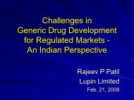 Challenges in Generic Drug Development For Regulated Markets ...