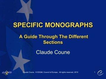 Specific monographs