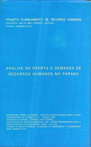 analise dia oferta e demanda de recursos humanos no ... - Ipardes