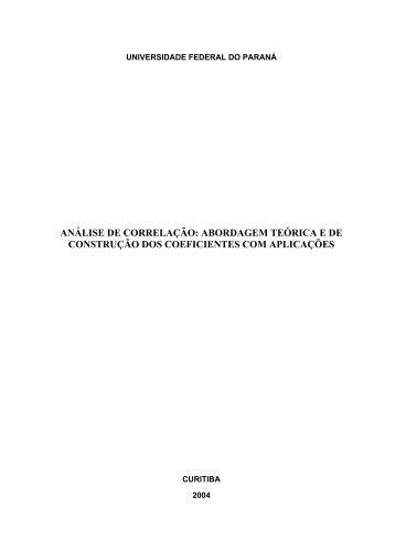 ANÁLISE DE CORRELAÇÃO: ABORDAGEM TEÓRICA E ... - Ipardes