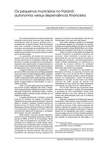 Os pequenos municípios no Paraná: autonomia LAHIKI ... - Ipardes