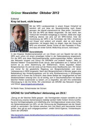 Grüner Newsletter Oktober 2012 - Die Grünen Essen
