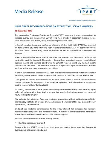 ipart draft recommendations on sydney taxi licence numbers